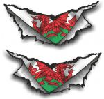 SMALL Pair Triangular Ripped Torn Metal Rip & Wales Welsh CYMRU Flag Vinyl Car Sticker 75x35mm Each